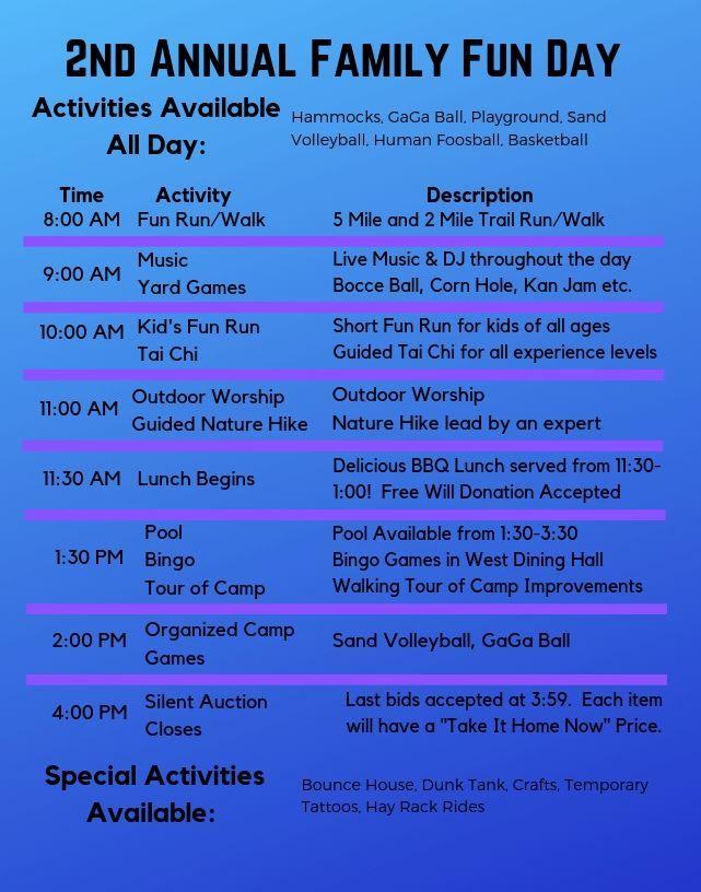 2019 Fun Day Schedule of Activities