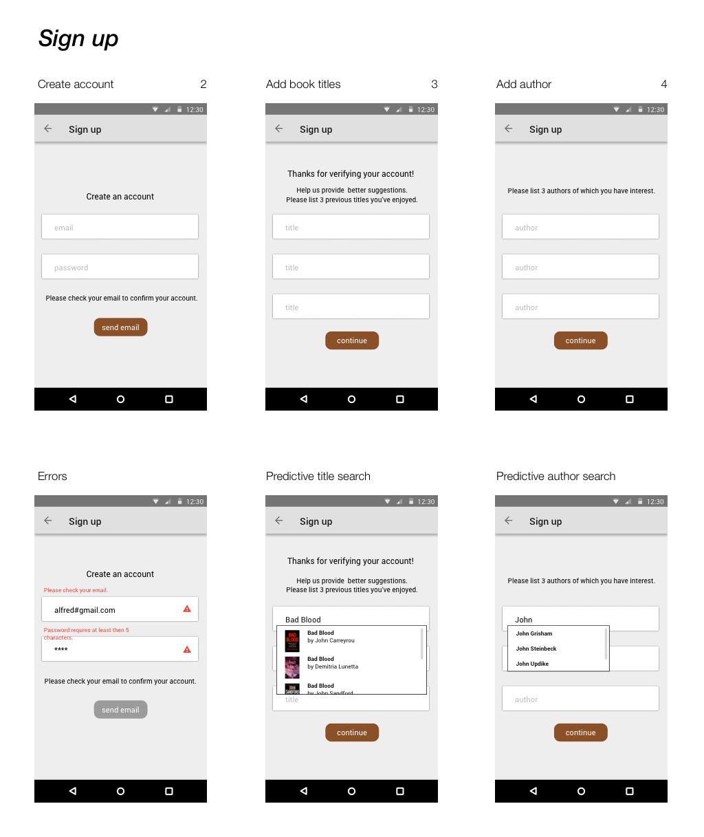 Sign up Wireframes