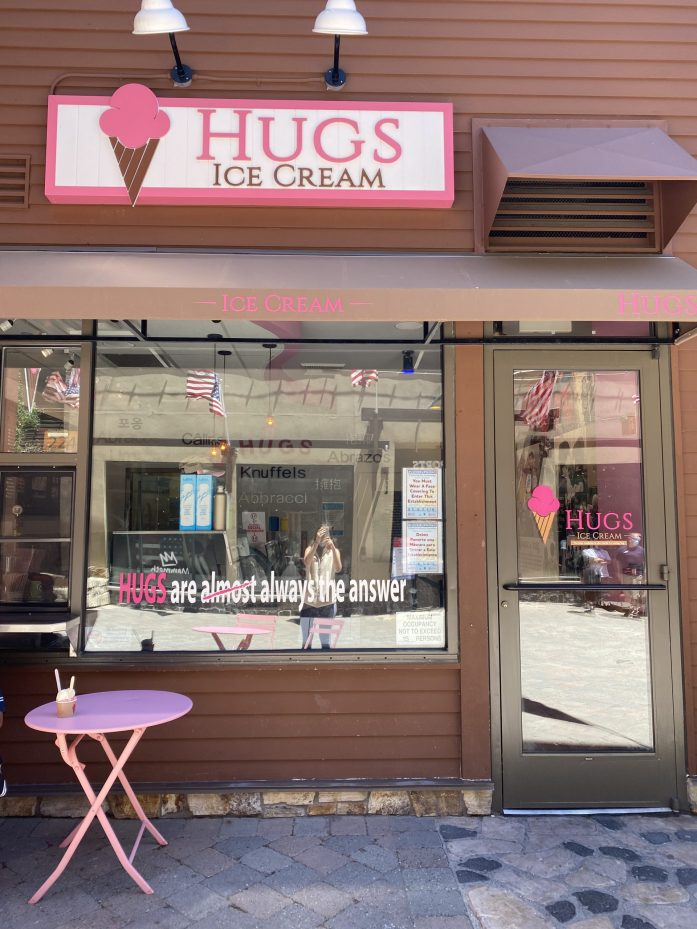 hugs ice cream at the village in mammoth lakes