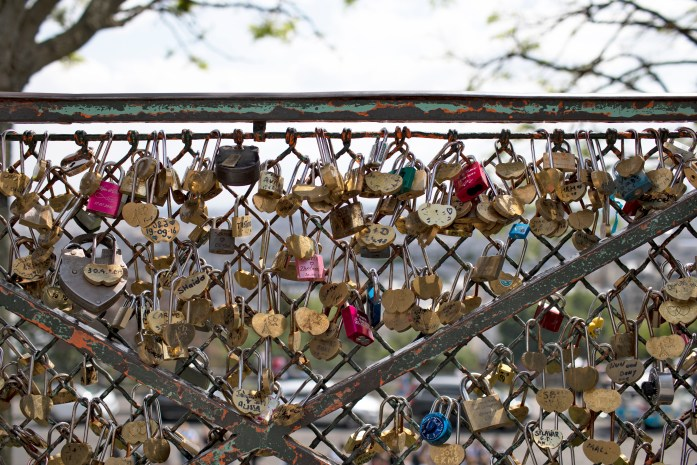 bringing your dog to the love locks in paris