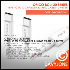 Orico BCU-20 Series Type – C To C Charger & Sync Cable – 2 Meter