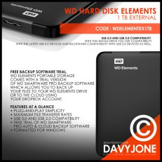WD Hard Disk Elements 1 TB External