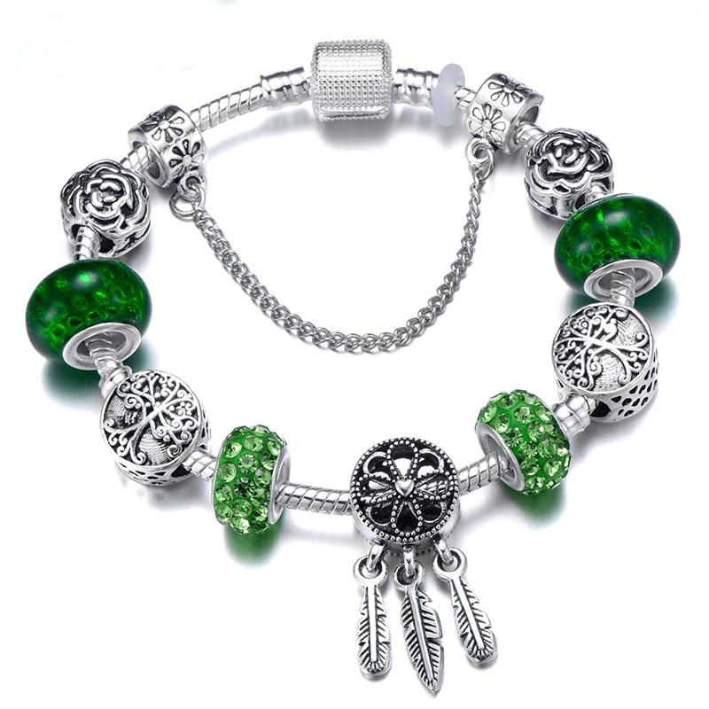 Bracelet à Charms attrape rêve et Cristal d'Autriche Vert