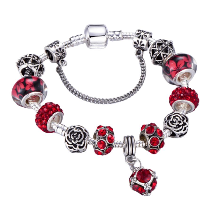 Bracelet Charms Plaqué Argent et Cristal d'Autriche Rouge