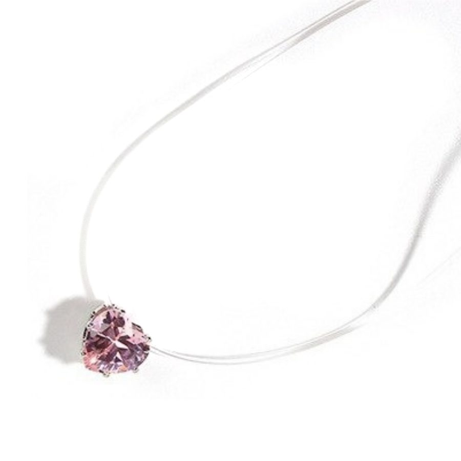 Collier Fil Invisible Coeur Rose