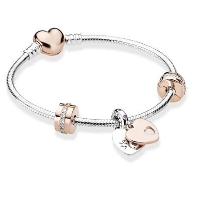 Bracelet Charms Love Couleur Argent et Or rose