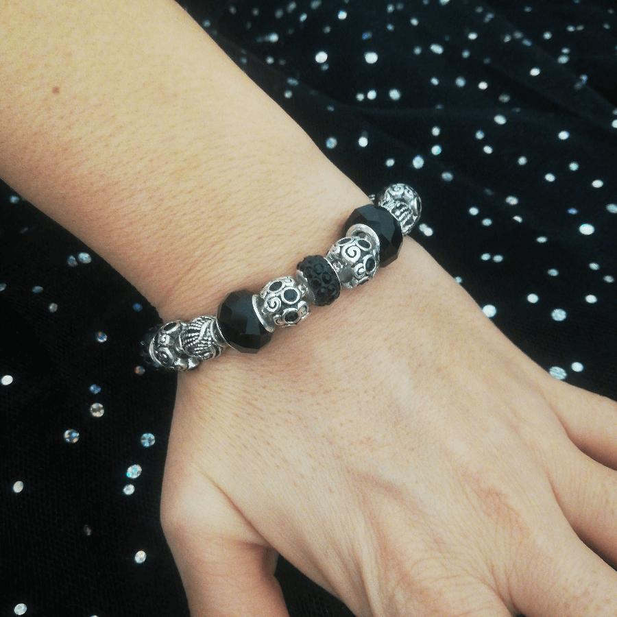 Bracelet Charms en Plaqué Argent et Cristal d'Autriche Noir