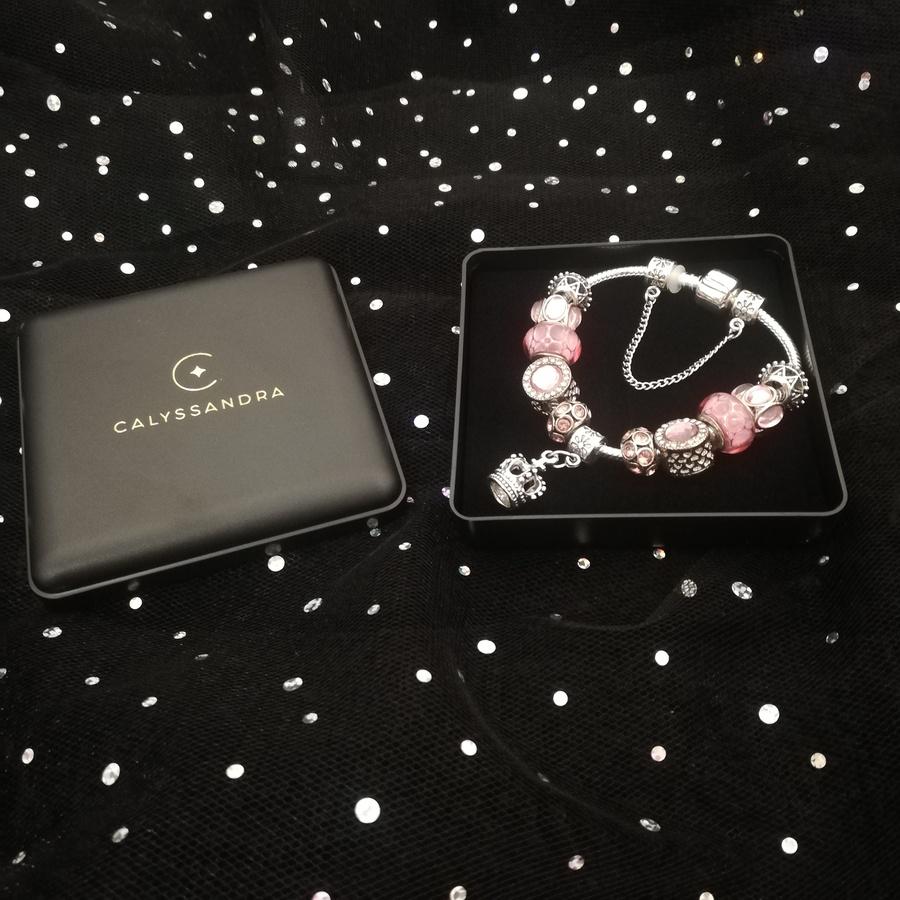 Bracelet Charms Plaqué Argent et Cristal d'Autriche Rose