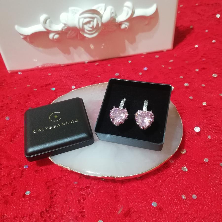 Boucles d'Oreilles en Argent Pendentif Coeur en Cristal