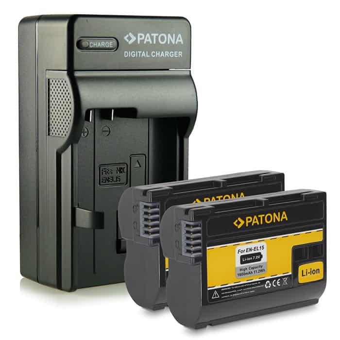 4 en1 Cargador + 2 Baterías  EN-EL15 ENEL15 con Infochip