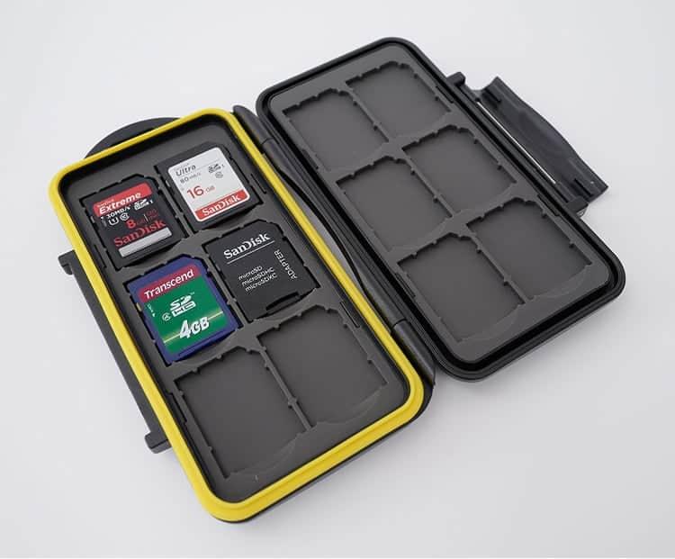 Estuche impermeable anti-choque para tarjetas de memorias (12 x tarjetas SD)