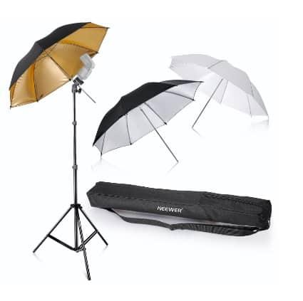Kit de 3 paraguas para flash de Neewer por menos de 30 euros