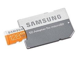 Samsung EVO - Tarjeta de memoria microSD de 128 GB con adaptor SD (velocidad hasta 48 MB, Class 10, resistente al agua)