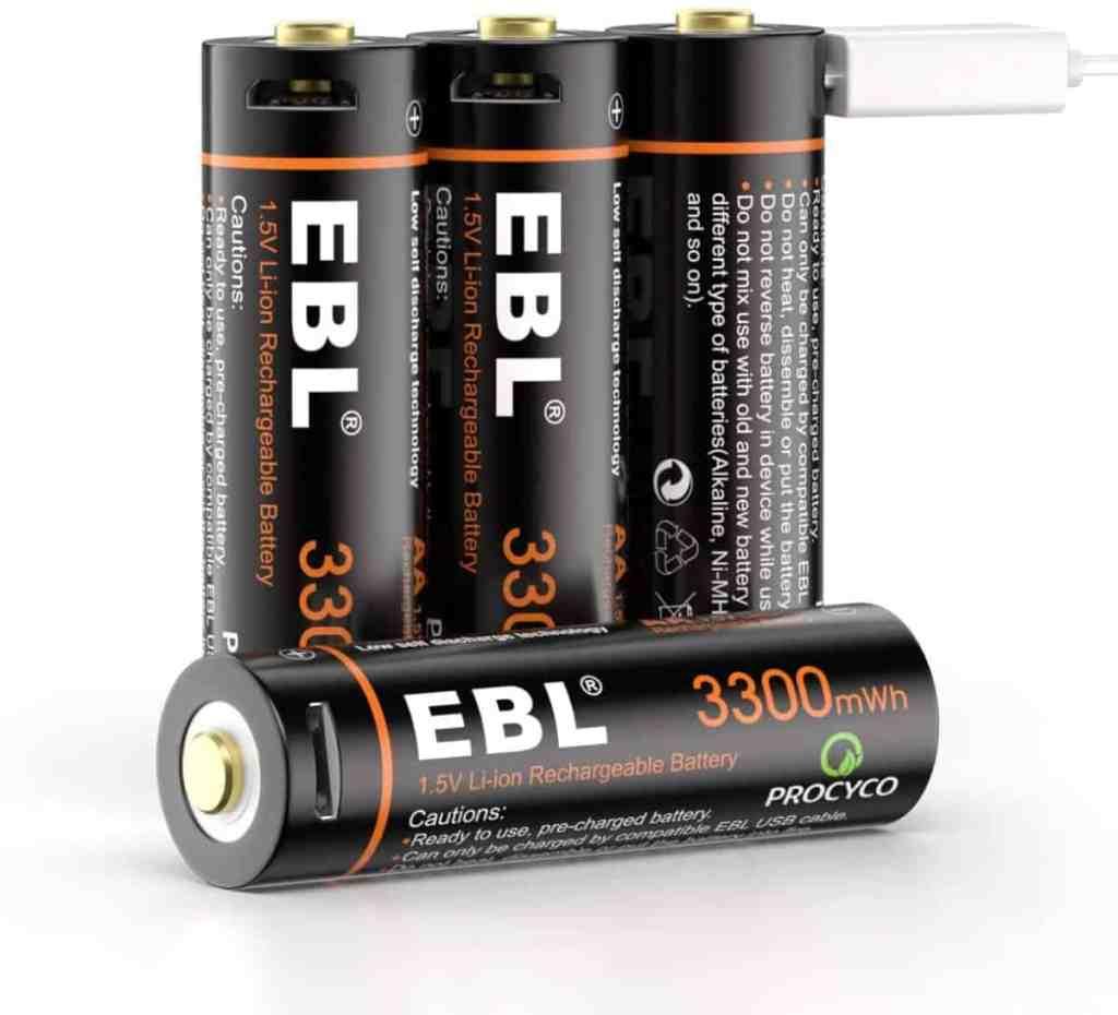 Pilas Recargables AA  de EBL de 3300mWh (2200 mAh) - Alta capacidad con cable micro USB