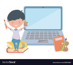 Boy kid school and laptop design Royalty Free Vector Image
