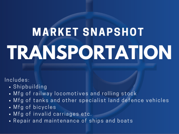 CAE MArket Snapshot - Transportation Includes: • Shipbuilding • Mfg of railway locomotives and rolling stock • Mfg of tanks and other specialist land defence vehicles • Mfg of bicycles • Mfg of invalid carriages etc. • Repair and maintenance of ships and boats