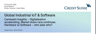 Global Industrial IoT & Software Cambashi insights – Digitalisation accelerating, Market share race continues. Hardware vs Software – who eats who?