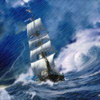 Barca nel mare in tempesta