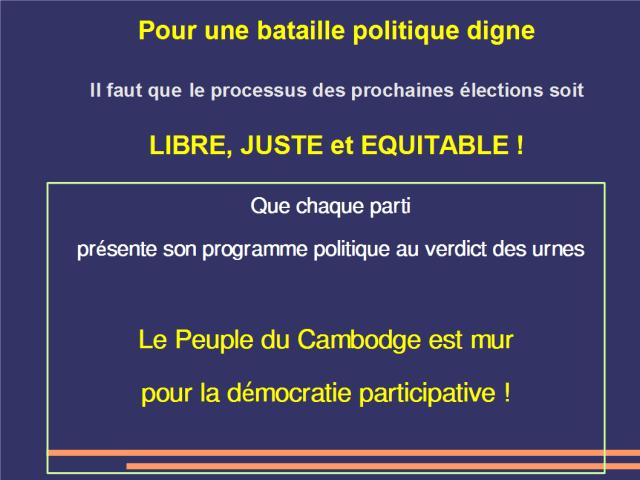 Pour un processus des élections libre juste et équitable