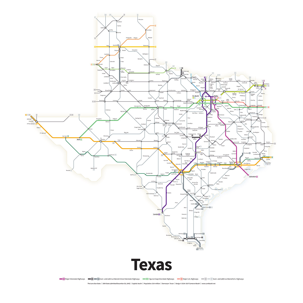 Highways of the USA – Texas – Transit Maps Store
