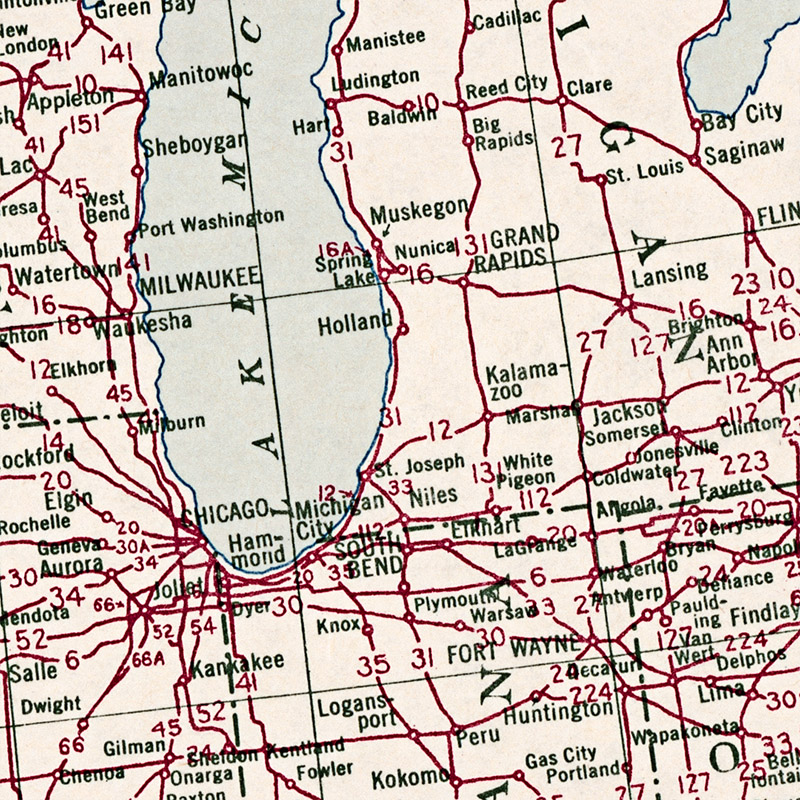 1950 US Highway System Map Transit Maps Store