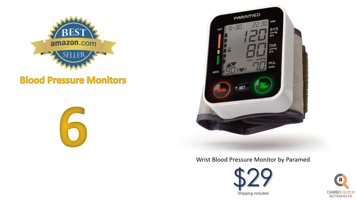 Automatic Wrist Blood Pressure Monitor by ParamedBlood-Pressure Kit of Bp Cuff + 2AAA and Carrying case - Irregular Heartbeat Detector & 90 Readings....png