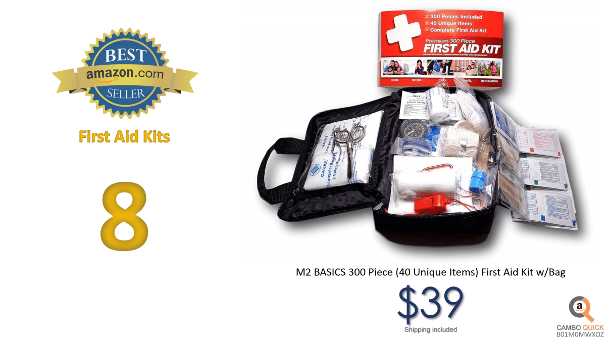 M2 BASICS 300 Piece (40 Unique Items) First Aid Kit wBag  FREE First Aid Guide  Emergency Medical Supply  For Home, Office, Outdoors, Car, Camping, Travel, Survival, Workplace.png