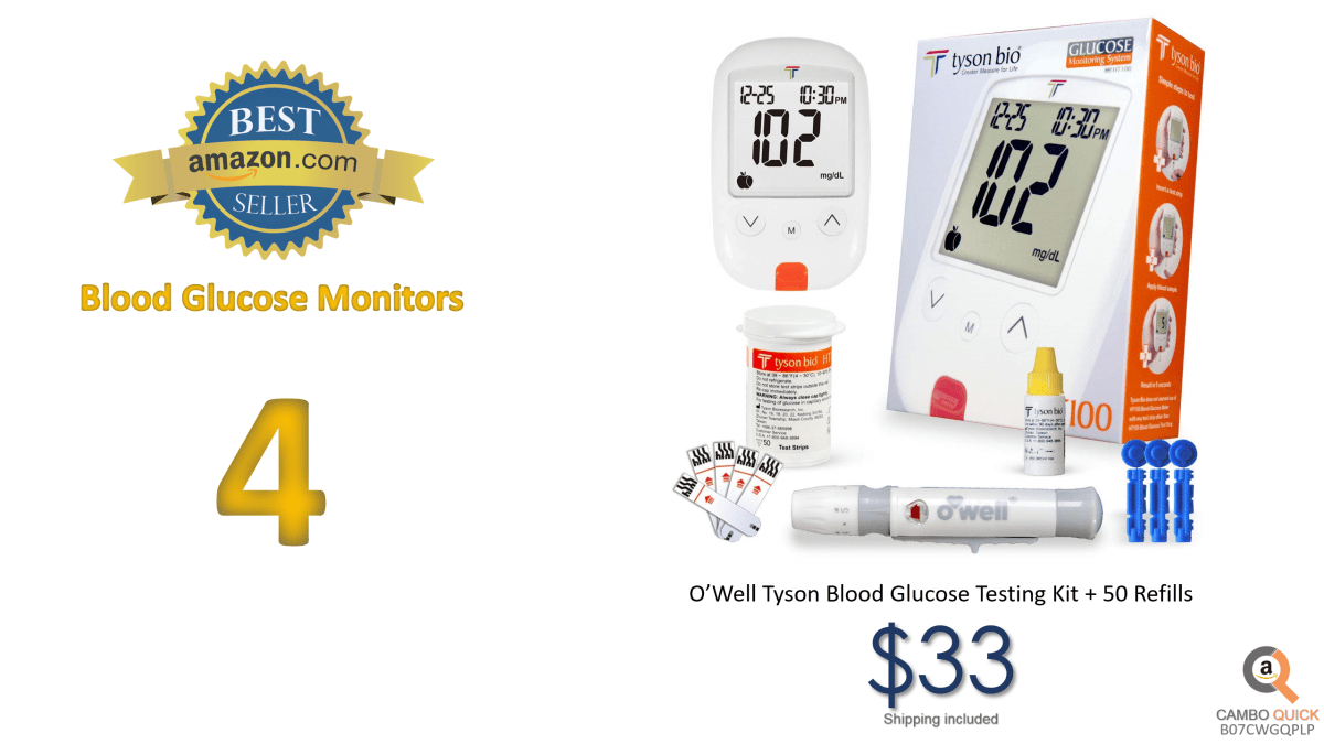 O'Well Tyson Blood Glucose Testing Kit + 50 Refills Includes Meter, 50 Test Strips, 50 Lancets, Lancing Devices, Control Solution, Manuals, Logbook & Carry Case