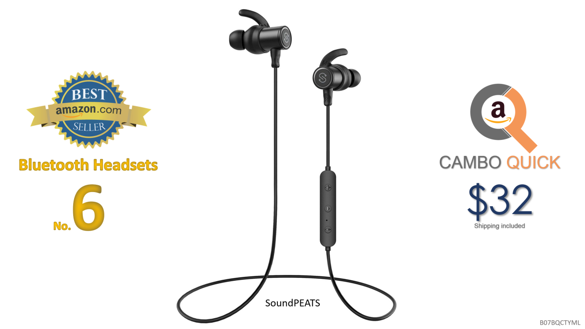 SoundPEATS Bluetooth Earphones, Wireless 4.1 Magnetic Headphones, in-Ear IPX6 Sweatproof Earbuds with Mic (Super Sound with 10MM Drivers and APTX, 8 Hours