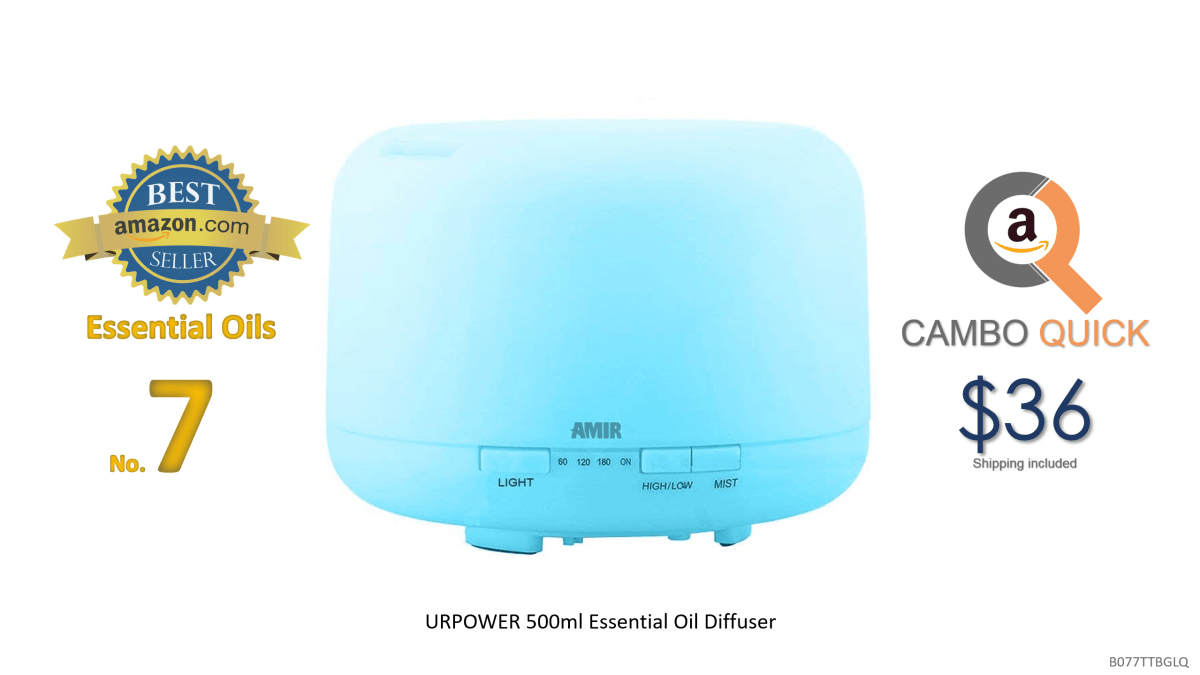 URPOWER 500ml Aromatherapy Essential Oil Diffuser Humidifier Room Decor Lighting with 4 Timer Settings, 7 LED Color Changing Lamps and Waterless Auto Shut-Off.png