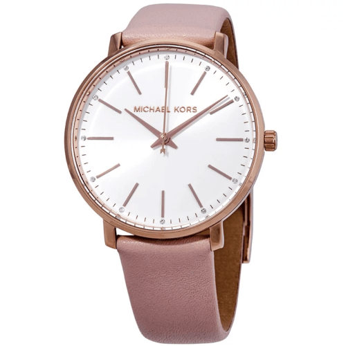 MICHAEL KORS Pyper White Dial Pink Leather Ladies Watch MK2741