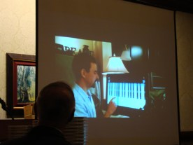 Cambria Press Sinophone World Series Reception: Victor Mair watching Tom Mair's birthday video