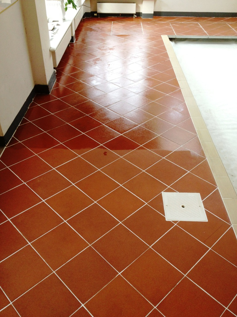 cleaning quarry tiles around an indoor