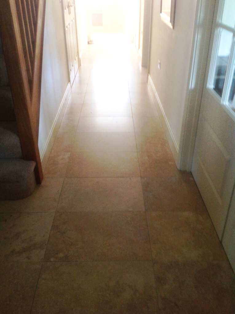 Travertine floor before filling in Great Wilbraham Cambridge