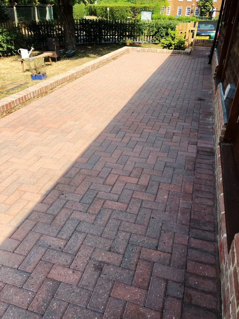 Dirty Block Paved Patio After Deep Cleaning Duxford