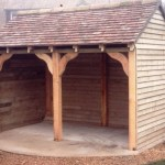 Oak shed with peg-tiled roof