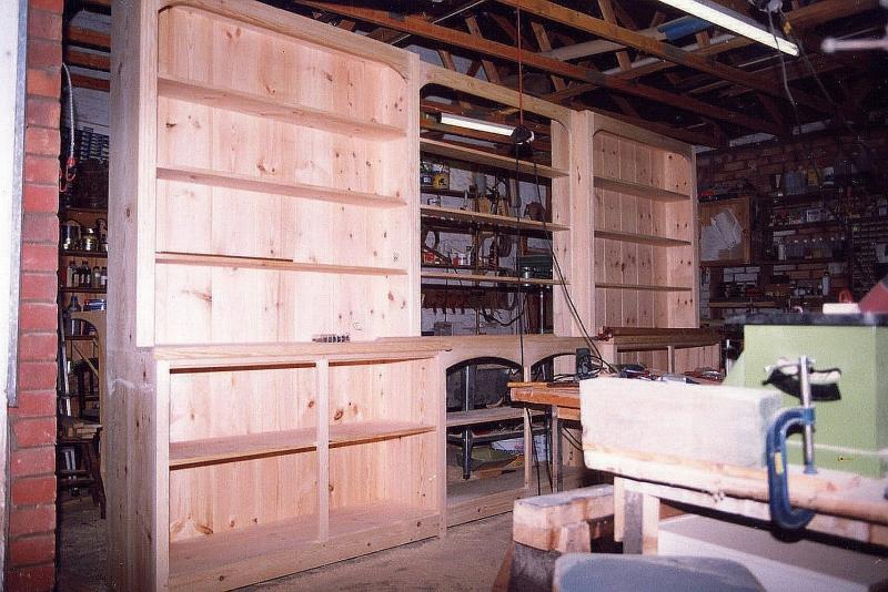 5 metre Triple Section Freestanding Pine Bookcase