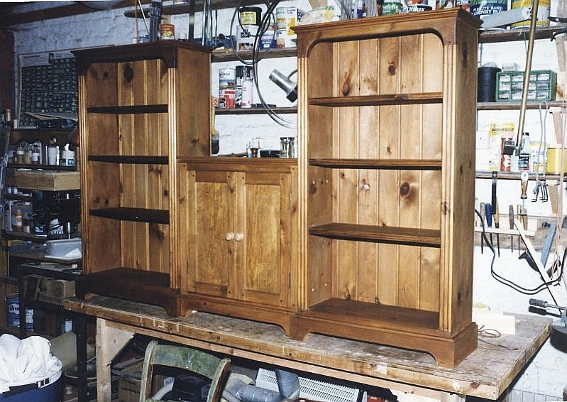 Set of bedroom pine units stained using VanDyke crystals to render a walnut finish