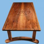 English walnut coffee table inlaid with ebony and ash