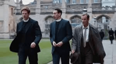 The stars of Grantchester in front of the Arabian Palace.