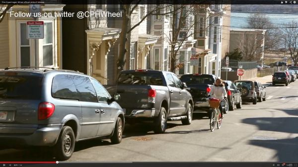 Bicyclist riding wrong way in copenhagen Wheel promotional video