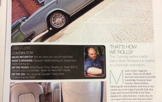 Retro Cars Magazine December 2015 rolls Royce interior leather restoration article!