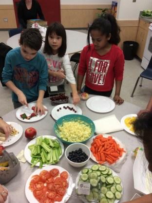 Preparing a healthy lunch in Ms. Taank's class