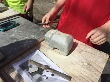 Soapstone creations taking form.