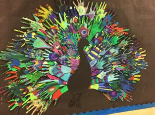 Peacock art by the grade 3s.