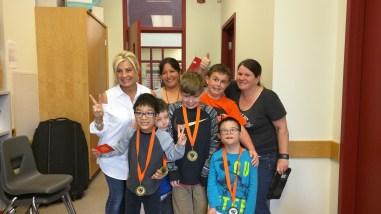 Receiving medals