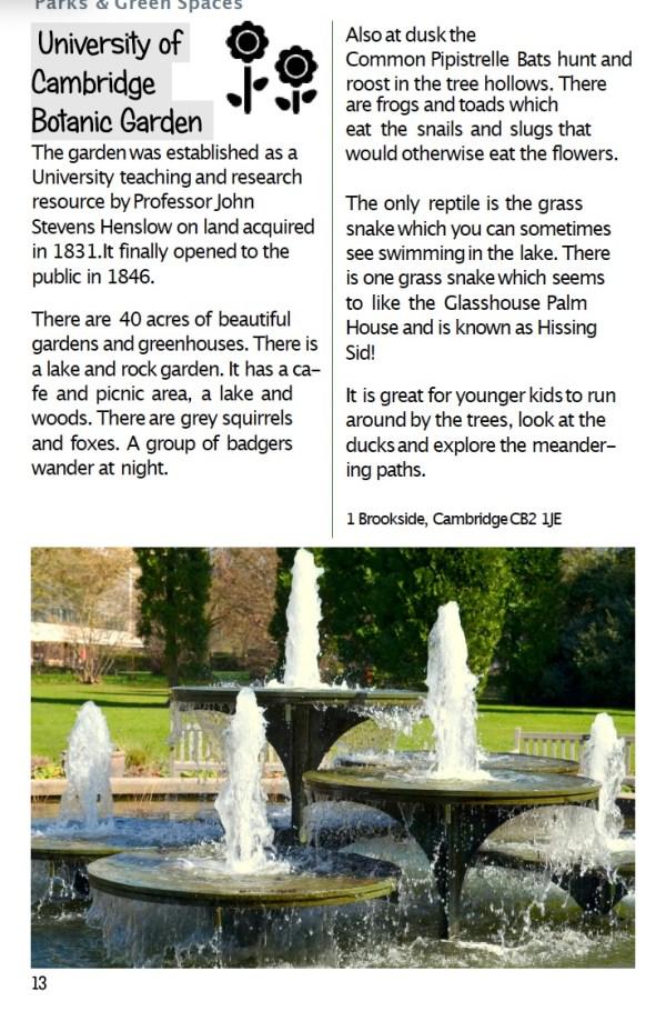 Page on botanic gardens