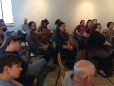 The audience at the reading, awaiting to hear a selection of poetry and prose from our readers.