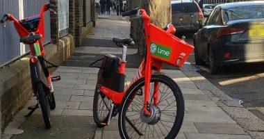 Lime hire bike on pavement