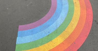 Rainbow painted on a road